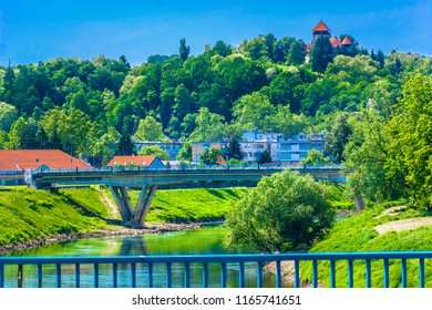 Scenic view at colorful spring scenery in Karlovac town, Central Croatia. / Selective focus.