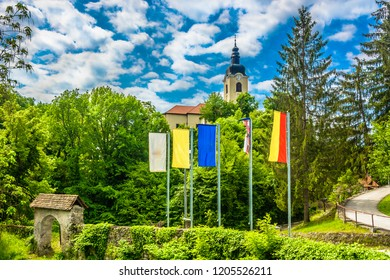 Scenic view at colorful springtime travel place Ozalj in Central Croatia, Europe. / Selective focus.