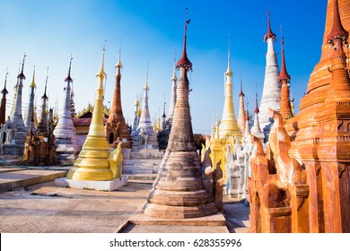 Scenic view of colorufl pagodas in Indein village Pagoda at Inle Lake, Myanmar. (Burma)