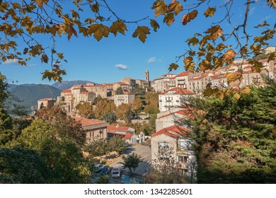 Scenic view of the Corsican city Sartene in a sunny autumn day, France