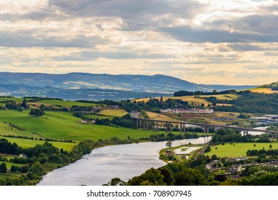 Scenic view of the countryside near Perth in Scotland in summer.