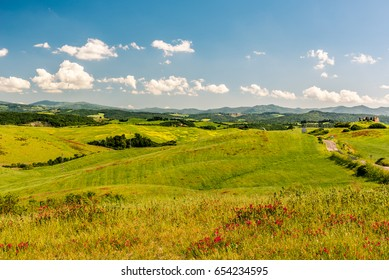 Scenic view of the countryside near Volterra, Tuscany, Italy in spring