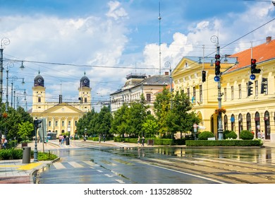 Scenic view of Debrecen, the second largest city in Hungary with Piac street in city city center at sunny summer day after rain