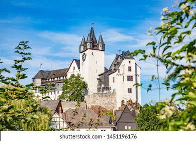 scenic view to Diez  Castle with tree in foreground