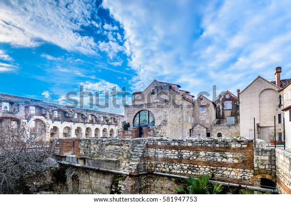 Scenic view at Diocletian Palace walls, old ruins at city Split, famous touristic attraction in Croatia, Europe. / Selective focus.
