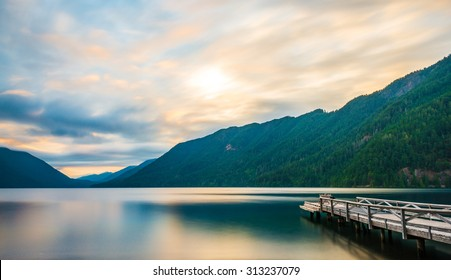 scenic view of  dock in  lake Crescent in Olympic national park,Washington State.Usa