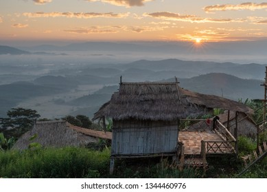 Scenic view of Doi Sa ngo mountain.Doi Sa Ngo is located in sa ngo chiang saen,chiang rai it is akha village develop to be ecotourism attraction about akha culture