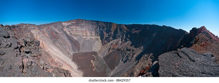 Scenic view of dolomieu crater of the Piton de la Fournaise volcano on Reunion Island.