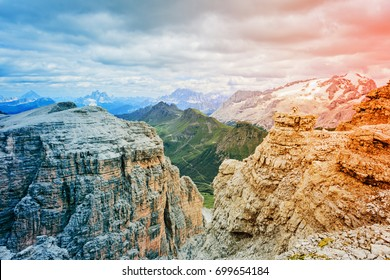 Scenic view of Dolomites Marmolada, Passo Pordoi, near Canazei of Val di Fassa, Trentino-Alto-Adige region, Italy. Image toned with a modern gradient