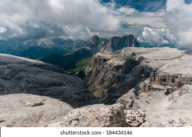 Scenic view of Dolomites mountains with dramatic clouds. Italy, Europe.