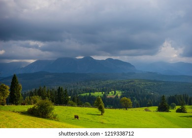 Scenic view of dramatic mountain landscape of High Tatras in Slovakia.