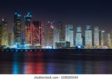 Scenic view of Dubai Marina Skyscrapers, night skyline, View from Palm Jumeirah. Dubai, UAE - January, 2018.