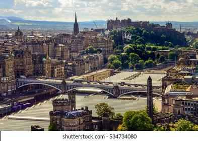 Scenic view of Edinburgh skyline with the castle in background, Scotland, United Kingdom