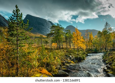 Scenic view of Efjorddalen valley wilderness and Sørelva river in Norway in autumn