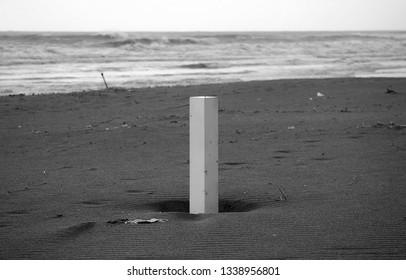 scenic view of the empty sandy beach of Versilia in the winter season