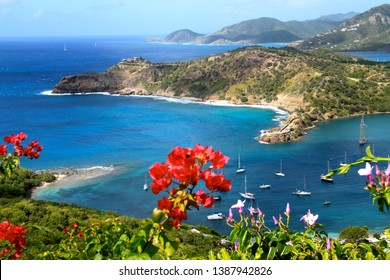 Scenic view of English Harbour and Falmouth Bay from the Shirley Heights Lookout in Antigua