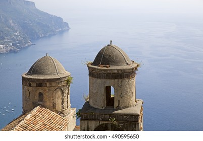 Scenic view of famous Amalfi Coast from Villa Rufolo gardens in Ravello, Campania, Italy