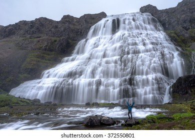 Scenic view of famous Dynjandi waterfall. Wesfjord, Iceland.