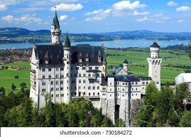 Scenic view of famous fairytale looking Neuschwanstein castle in Bavaria,Germany