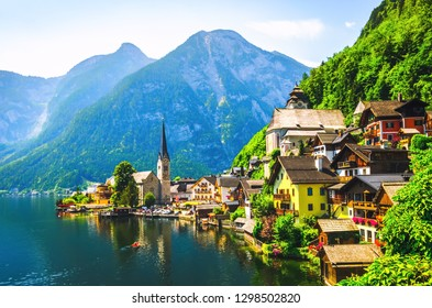 Scenic view of famous Hallstatt village in the Austrian Alps.