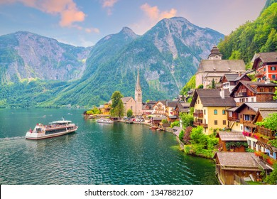 Scenic view of famous Hallstatt village in Austria, Alps. Europe