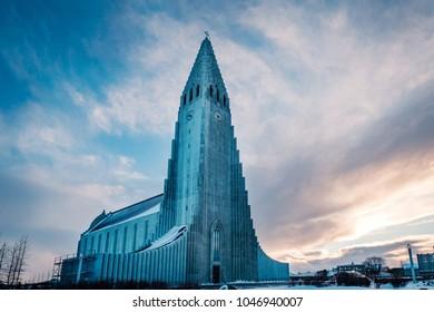 Scenic view of famous Lutheran church Hallgrimskirkja, Reykjavik, Iceland.