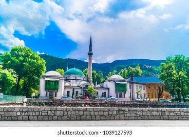 Scenic view at famous mosque in Sarajevo city, Bosnia and Herzegovina, Europe. / Selective focus.