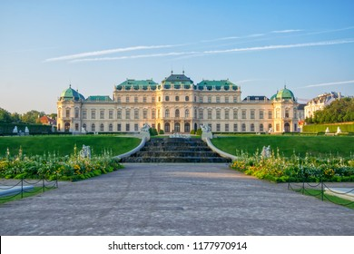 Scenic view of famous Schloss Belvedere summer residence for Prince Eugene of Savoy, Vienna, Austria. Upper Belvedere palace and baroque park landscape