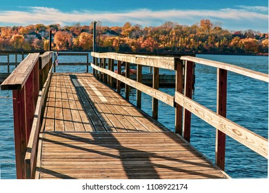 Scenic view from fishing dock on Staring Lake in the  Fall