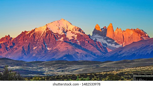 scenic view to Fitz Roy mountain in Argentina, Patagonia in sunset