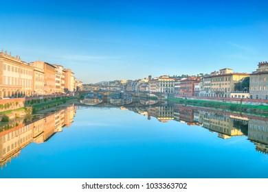 Scenic view of the Florence or Firenze city on the Arno River, Italy, Toscana