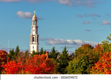 A scenic view of Frederick on a sunny afternoon in fall. The tallest building in city (bell tower of St. John the Evangelist Catholic Church) towers above trees in autumn colors.