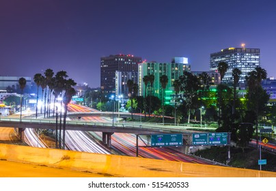 scenic view in freeway in downtown Los angeles at night,California,usa.  -07/13/16. for editorial.