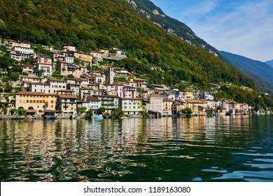 Scenic view of Gandria village near Lugano from the lake, canton of Ticino, Switzerland