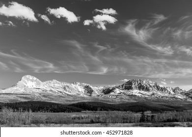 scenic view of Glacier National Park in black and white, Montana, USA