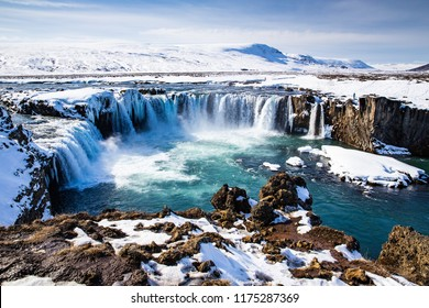 Scenic view of Godafoss, Iceland, in early spring in April