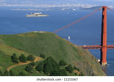 Scenic view of the Golden Gate Bridge in San Francisco with the view of the bay and Alcatraz in the background