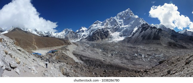 Scenic view of Gorak shep and mount Lhotse with blue sky and big clouds, Everest Base Camp trek, Nepal