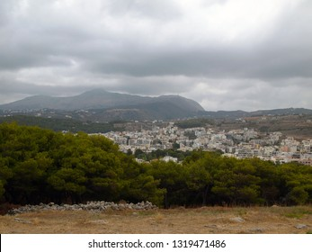 Scenic view of the Greek city of Rethymno from the medieval fortress Fortezza.