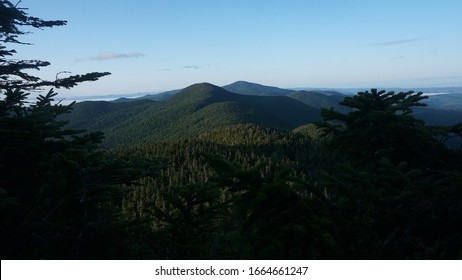 A scenic view of the Green Mountains from the Long Trail in Vermont.