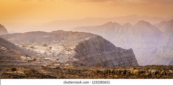 Scenic view of Hajar Mountains of Ras Al Khaimah, UAE at sunset