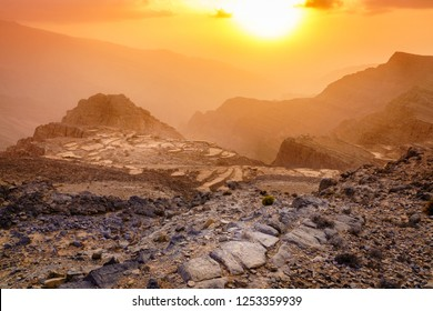 Scenic view of Hajar Mountains of Ras Al Khaimah, UAE at sunset