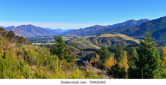 Scenic view of Hanmer Springs town and surrounding hills in Canterbury, New Zealand