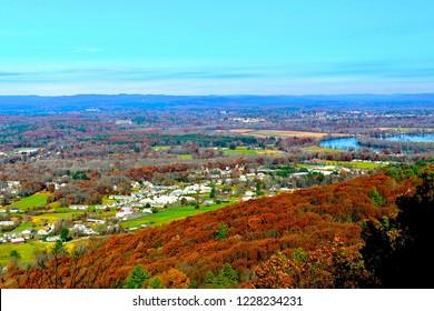 Scenic view hiking Mount Tom Traverse in Holyoke, Massachusetts