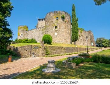 Scenic view of historic Castle in Gorizia (13th century), Friuli-Venezia Giulia, Italy at sunny summer day