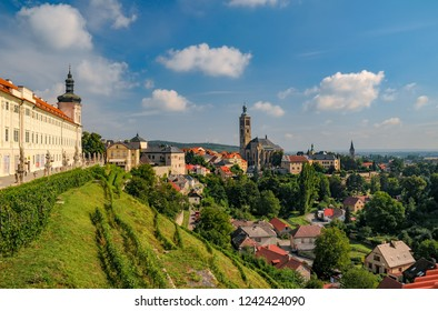 Scenic view of historic centre of Kutna Hora town, Czech Republic, Europe at sunny summer day. Jesuit College and St. James church. UNESCO World Heritage site