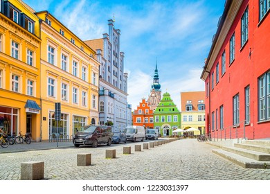 Scenic view of the historic city center of Greifswald on a beautiful sunny day with blue sky and clouds in summer, Mecklenburg-Vorpommern, Germany