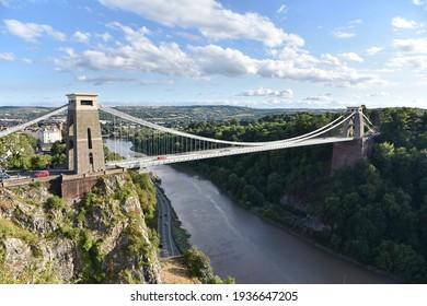 Scenic View of the Historic Clifton Suspension Bridge in Bristol England - The Landmark Bridge Spans the Avon Gorge and the River Avon