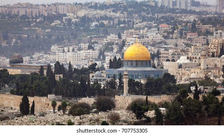 Scenic view of the historic, Islamic Shrine of Dome of the Rock Jerusalem cityscape on the Temple Mount. / Dome of the Rock Jerusalem
