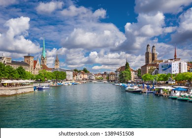 Scenic view of historic Zurich city center with famous Fraumunster and Grossmunster Churches and river Limmat at Lake Zurich, Canton of Zurich, Switzerland